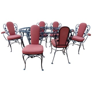 Salterini Wrought Iron Indoor Dining Set 7 Pieces For Sale