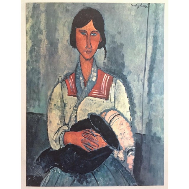 """Amadeo Modigliani Rare Vintage Mid Century Large Lithograph Print """" Gypsy Woman With a Baby """" 1919 For Sale - Image 9 of 10"""