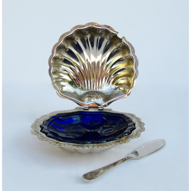 Vintage; 1950s-60s, English Hollywood Regency era, silver plate, clam shell-shaped, caviar serving dish, with interior...