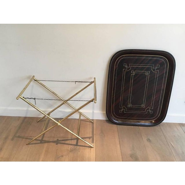 French Brass Tray Table with a Lacquer and Gold Metal Top - Image 7 of 11