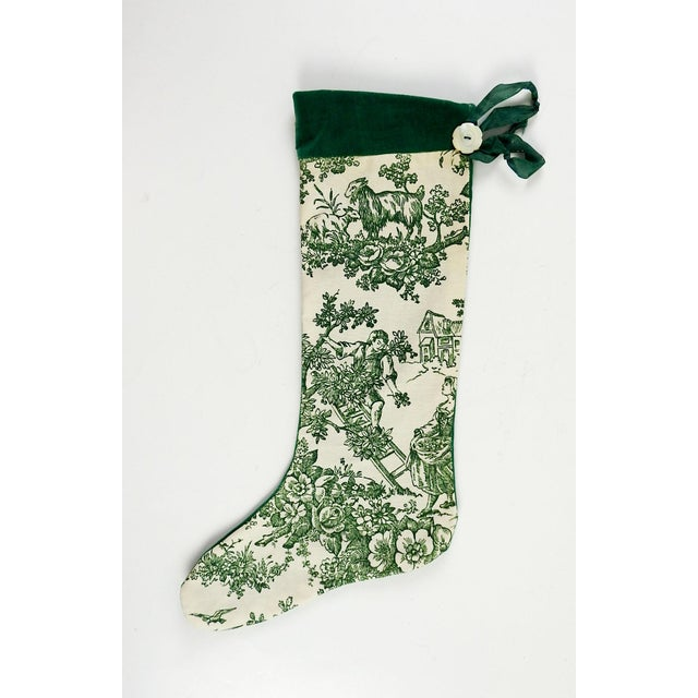 Vintage Green Toile Christmas Stocking - Image 2 of 4