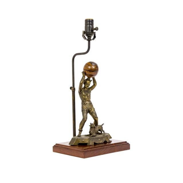 Circus Jester Sculpture With Walnut Ball Lamp For Sale