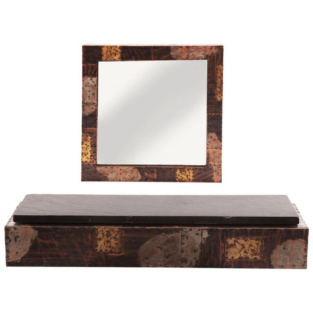 Glass Custom Paul Evans Wall Shelf and Mirror For Sale - Image 7 of 7