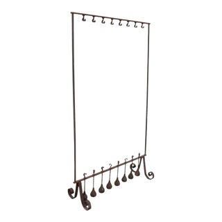 Antique Wrought Iron Free Standing Coat Rack For Sale