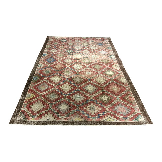 "Turkish Distressed Look Zeki Muren Rug - 5'6""x8'10"" - Image 1 of 8"