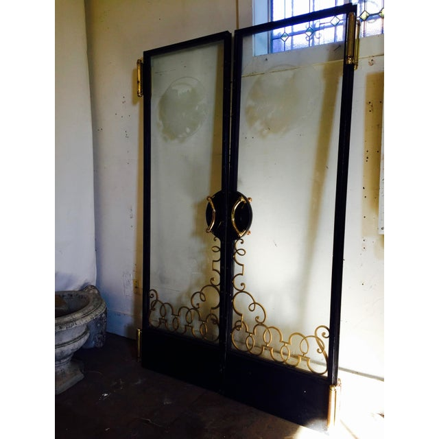 I'm in awe of this rare pair of c. 30s, Art Nouveau Classic Antique, multi-metal, thick, etched glass, salvaged pair of...