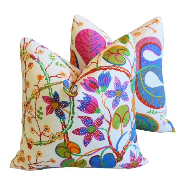 "Designer Josef Frank ""Teheran"" Floral Linen Feather/Down Pillows 18"" Square - Pair For Sale"