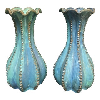 Pair of Turquoise Miniature Vases