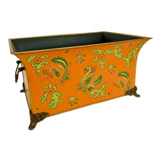 Large Rectangular Tole Footed Cachepot Planter For Sale