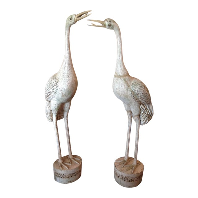Grandly Scaled Pair of Vintage Carved Cranes For Sale