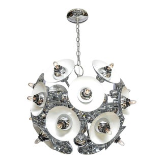 Eighteen-Light Chrome Sputnik Chandelier For Sale