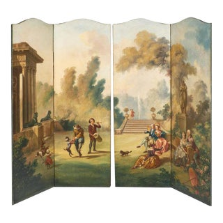 French Antique Painted Canvas Screen For Sale
