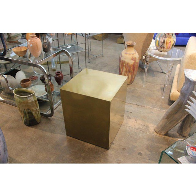 Contemporary Bridges Over Time Originals Brass Coated Cube Table For Sale - Image 9 of 9