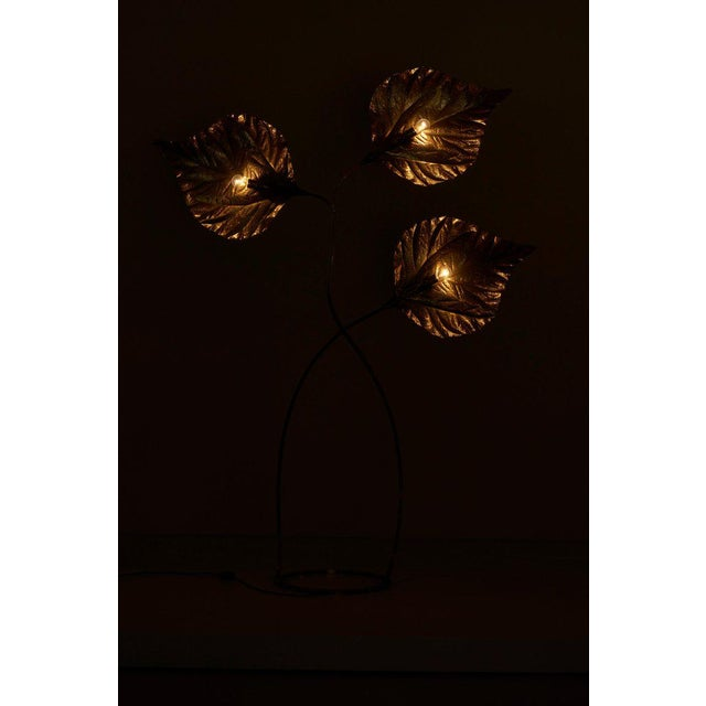 1970s 1 of 2 Huge Three Rhubarb Leaves Brass Floor Lamp by Tommaso Barbi For Sale - Image 5 of 13