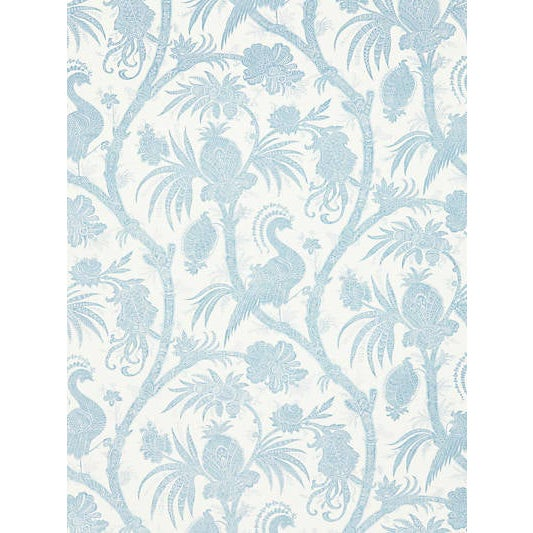 Traditional Sample, Scalamandre Balinese Peacock Wallpaper, Sky For Sale - Image 3 of 3