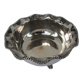 Vintage Silver-plate Ruffled Serving Bowl For Sale