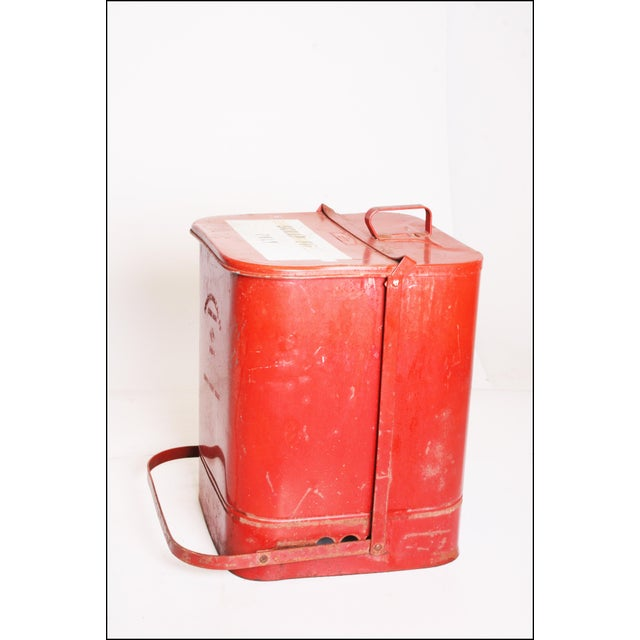 Vintage Industrial Red Metal Trash Can with Flip Top Lid - Image 2 of 11