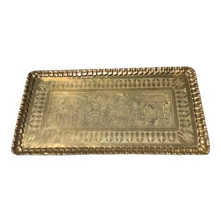 Vintage Egyptian Brass Copper Hanging Tray For Sale