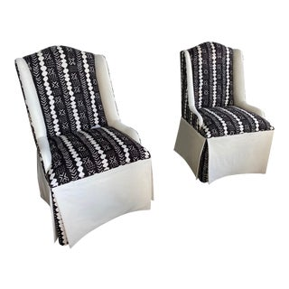 Custom Fabric Slipper Accent Chairs - A Pair For Sale