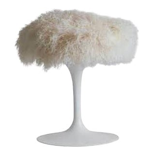 Eero Saarinen for Knoll Tulip Stool With Tibetan Sheepskin Midcentury For Sale