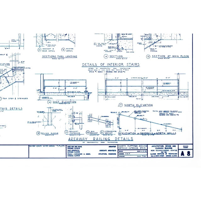Ludwig Mies van der Rohe Mies Van Der Rohe Blueprint, Crown Hall, Chicago, 1954, North Platform For Sale - Image 4 of 13