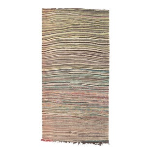 """Mid 20th Century Moroccan Rag Rug - 4'2"""" X 9'1"""" For Sale"""