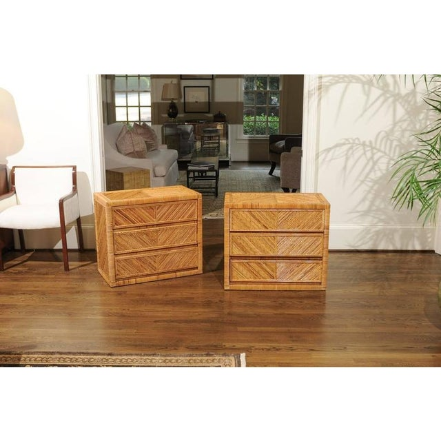 An exquisite pair of vintage small chests, circa 1975. Exceptionally crafted solid hardwood case construction,...