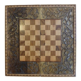 Vintage Handmade Inlaid Carved Wood Folding Game Board Case Checkers Chess Backgammon For Sale