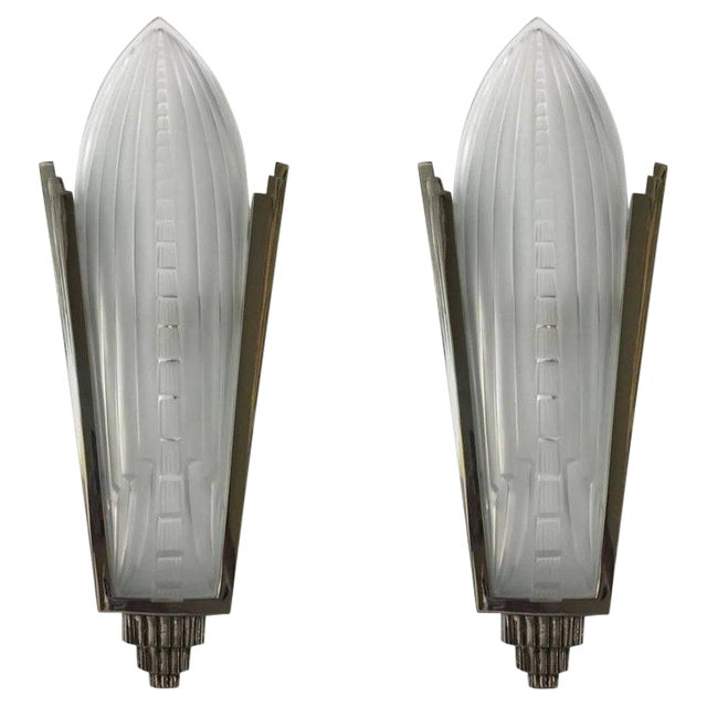 French Art Deco Sconces Signed by Genet Et Michon - A Pair For Sale