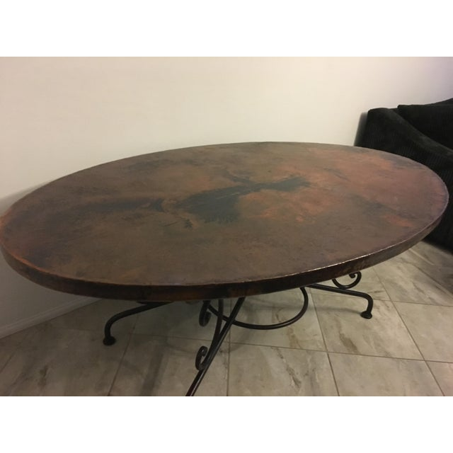 Arhaus Hammered Copper Oval Dining Table - Image 4 of 6
