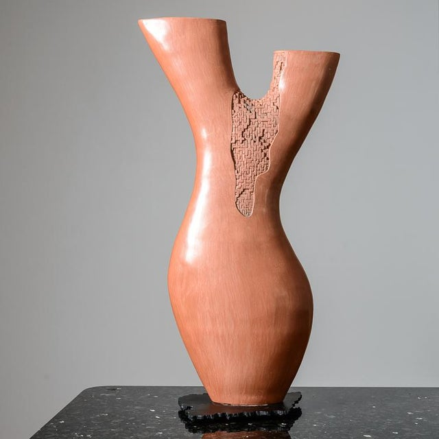 Pink Hand Thrown Coral Branch Shaped Ceramic Sculpture Unsigned For Sale - Image 8 of 8