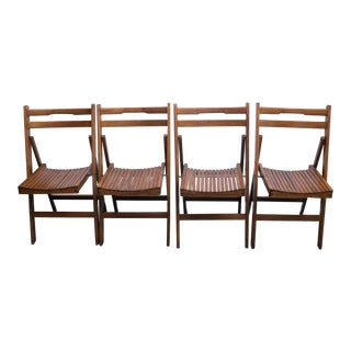 Mid Century Modern Wood Slate Folding Chairs - Set of 4 For Sale