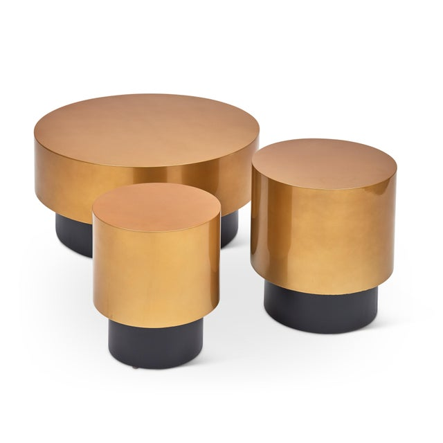 Benton Side Table in Gold For Sale - Image 4 of 7