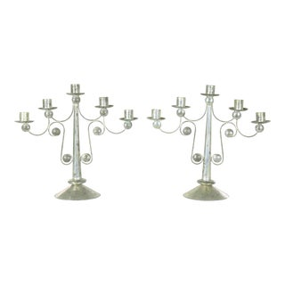 Pair of Punched Tin Candelabra From Mexico in the Style of William Spratling For Sale