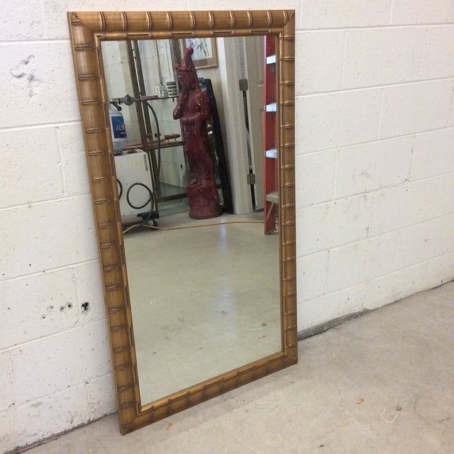 Gold Leaf Faux Bamboo Mirror - Image 3 of 8