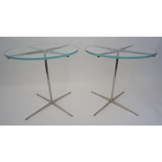 """Vintage Drinks or Side Tables Glass on Polished Steel Pedestal - a pair - from a Palm Beach estate The glass itself is 19""""..."""