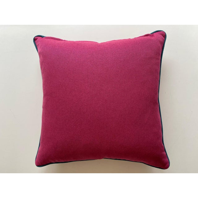 Transitional Fuchsia and Peacock Blues Pillows - a Pair For Sale - Image 3 of 6
