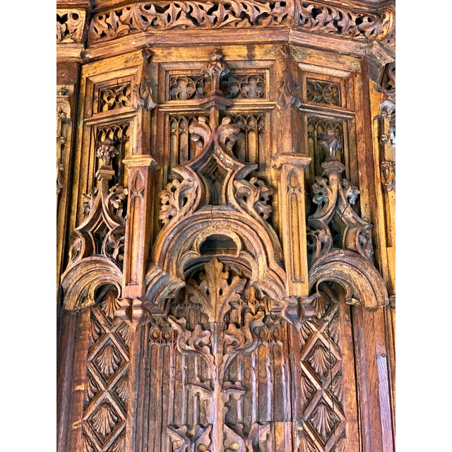 Gothic Revival Oak Cupboard Heavily Carved, circa 1850 For Sale - Image 12 of 13