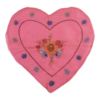 1930s Vintage Pink Heart Pillow Cover For Sale