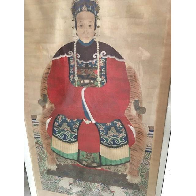 Early 20th Century Antique Chinese Ancestral Watercolor Portrait on Paper Painting For Sale - Image 10 of 11