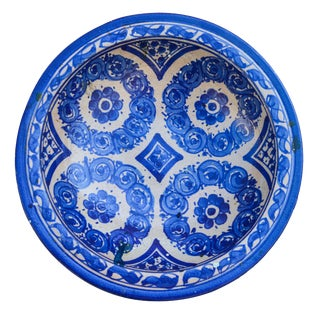 Blue Moorish-Patterned Ceramic Plate For Sale