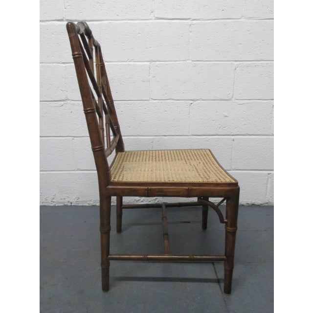 Asian 4 Faux Bamboo Chinese Chippendale Style Chairs For Sale - Image 3 of 8
