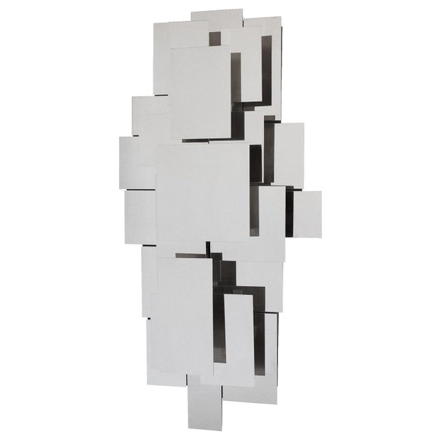 Polished Steel Wall-Light Sculpture or Sconce Attr. Reggiani For Sale - Image 11 of 11