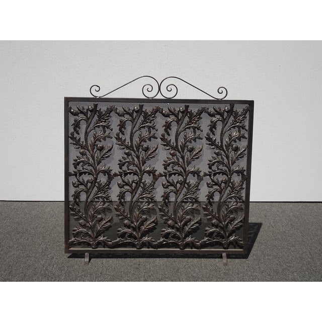 Vintage Spanish Style Black Wrought Iron Metal Fireplace Screen W Floral Onlay