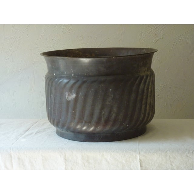Patinated Copper Cache Pot For Sale - Image 5 of 5