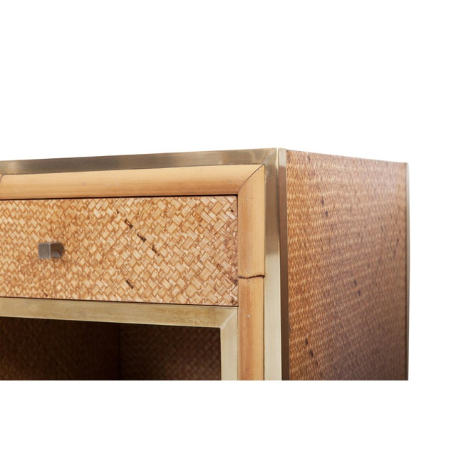 Bamboo Brass and Wicker Vivai Del Sud Pair of Night Stands or Side Tables For Sale - Image 7 of 9
