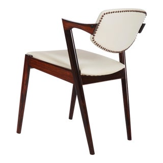 Rosewood and Leather Chairs by Kai Kristiansen Model 42 For Sale