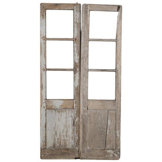 Pair of Antique French Doors Original Paint For Sale