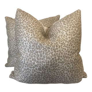 "Schumacher ""Leopard Linen Print"" in Sesame 22"" Pillows-A Pair For Sale"