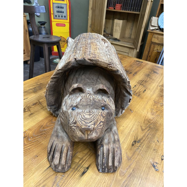 Auburn Vintage Wood Carving of Cub Bear Coming Out of a Log For Sale - Image 8 of 9